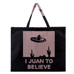 I Juan To Believe Ugly Holiday Christmas Black Background Zipper Large Tote Bag by Onesevenart