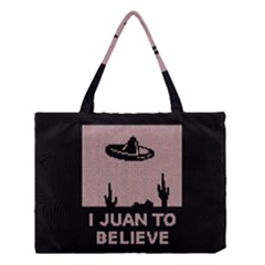 I Juan To Believe Ugly Holiday Christmas Black Background Medium Tote Bag by Onesevenart
