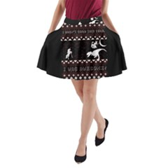 I Wasn t Good This Year, I Was Awesome! Ugly Holiday Christmas Black Background A Line Pocket Skirt by Onesevenart