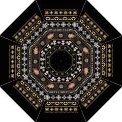 Merry Nerdmas! Ugly Christma Black Background Straight Umbrellas by Onesevenart