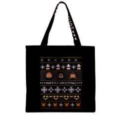Merry Nerdmas! Ugly Christma Black Background Zipper Grocery Tote Bag by Onesevenart