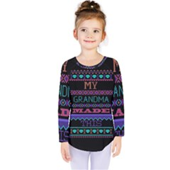 My Grandma Made This Ugly Holiday Black Background Kids  Long Sleeve Tee by Onesevenart