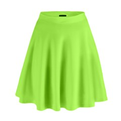 Neon Color - Brilliant Charteuse Green High Waist Skirt by tarastyle