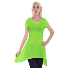 Neon Color - Brilliant Charteuse Green Short Sleeve Side Drop Tunic