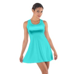 Neon Color   Brilliant Cyan Cotton Racerback Dress by tarastyle