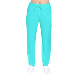 Neon Color - Brilliant Cyan Drawstring Pants by tarastyle