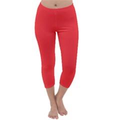 Neon Color   Brilliant Red Capri Winter Leggings  by tarastyle