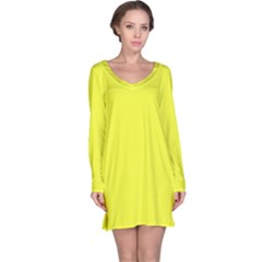 Neon Color   Brilliant Yellow Long Sleeve Nightdress by tarastyle