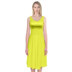 Neon Color   Brilliant Yellow Midi Sleeveless Dress by tarastyle