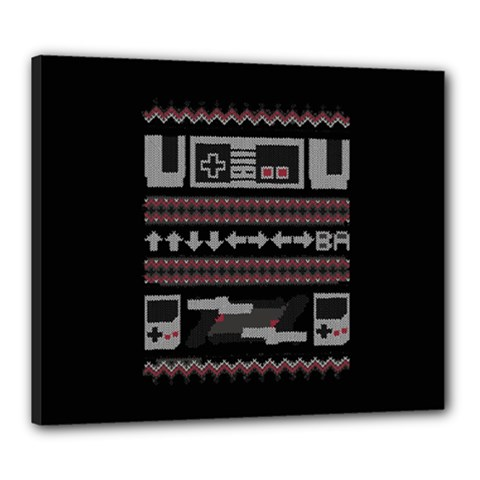 Old School Ugly Holiday Christmas Black Background Canvas 24  X 20  by Onesevenart