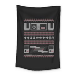 Old School Ugly Holiday Christmas Black Background Small Tapestry by Onesevenart