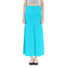 Neon Color - Light Brilliant Arctic Blue Maxi Skirts by tarastyle