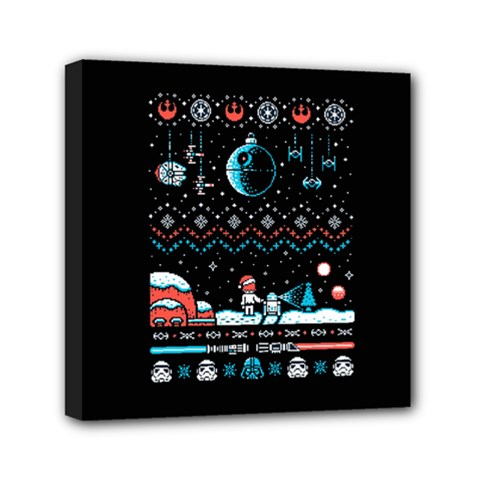 That Snow Moon Star Wars  Ugly Holiday Christmas Black Background Mini Canvas 6  X 6  by Onesevenart