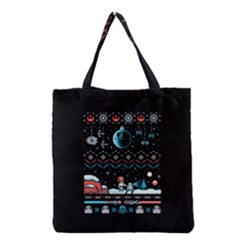 That Snow Moon Star Wars  Ugly Holiday Christmas Black Background Grocery Tote Bag by Onesevenart