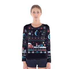 That Snow Moon Star Wars  Ugly Holiday Christmas Black Background Women s Long Sleeve Tee by Onesevenart