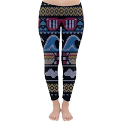 Ugly Summer Ugly Holiday Christmas Black Background Classic Winter Leggings by Onesevenart