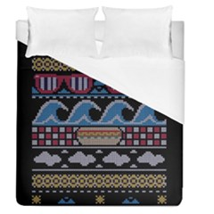 Ugly Summer Ugly Holiday Christmas Black Background Duvet Cover (queen Size) by Onesevenart