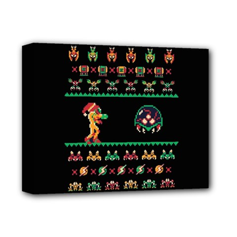 We Wish You A Metroid Christmas Ugly Holiday Christmas Black Background Deluxe Canvas 14  X 11  by Onesevenart