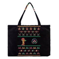 We Wish You A Metroid Christmas Ugly Holiday Christmas Black Background Medium Tote Bag by Onesevenart