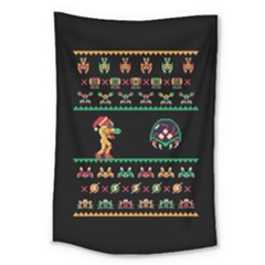 We Wish You A Metroid Christmas Ugly Holiday Christmas Black Background Large Tapestry by Onesevenart