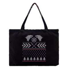 Winter Is Coming Game Of Thrones Ugly Christmas Black Background Medium Tote Bag by Onesevenart