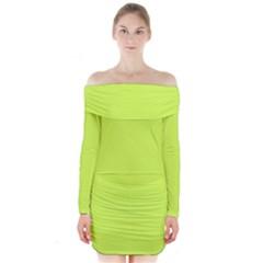Neon Color   Light Brilliant Lime Green Long Sleeve Off Shoulder Dress by tarastyle