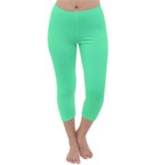 Neon Color - Light Brilliant Spring Green Capri Winter Leggings  by tarastyle