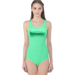 Neon Color   Light Brilliant Spring Green One Piece Swimsuit by tarastyle