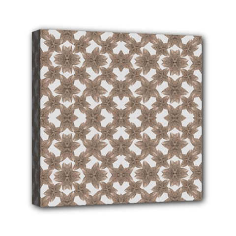 Stylized Leaves Floral Collage Mini Canvas 6  X 6  by dflcprints