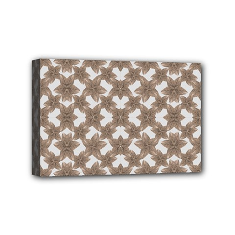 Stylized Leaves Floral Collage Mini Canvas 6  X 4  by dflcprints