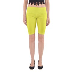 Neon Color - Light Brilliant Yellow Yoga Cropped Leggings by tarastyle