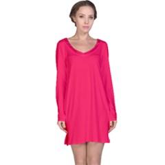 Neon Color   Luminous Vivid Crimson Long Sleeve Nightdress by tarastyle
