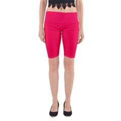 Neon Color - Luminous Vivid Crimson Yoga Cropped Leggings by tarastyle