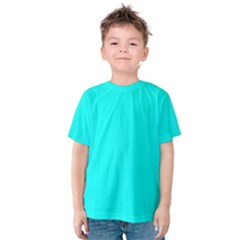 Neon Color   Luminous Vivid Cyan Kids  Cotton Tee by tarastyle