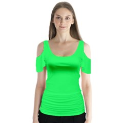Neon Color   Luminous Vivid Malachite Green Butterfly Sleeve Cutout Tee  by tarastyle