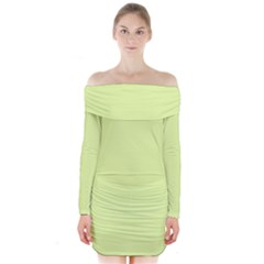 Neon Color   Pale Lime Green Long Sleeve Off Shoulder Dress by tarastyle