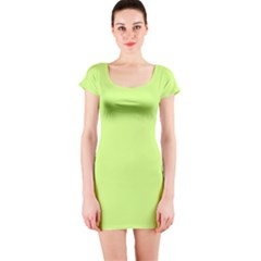 Neon Color   Very Light Spring Bud Short Sleeve Bodycon Dress by tarastyle