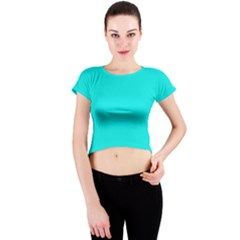 Neon Color   Vivid Cyan Crew Neck Crop Top by tarastyle