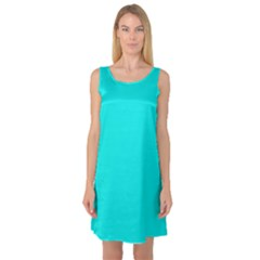 Neon Color   Vivid Cyan Sleeveless Satin Nightdress by tarastyle