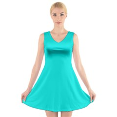 Neon Color   Vivid Cyan V Neck Sleeveless Skater Dress by tarastyle
