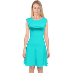 Neon Color - Vivid Cyan Capsleeve Midi Dress