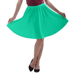 Neon Color   Vivid Turquoise A Line Skater Skirt by tarastyle