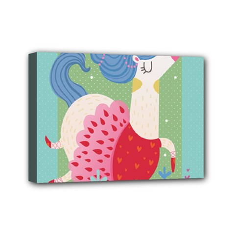 Unicorn Mini Canvas 7  X 5  by Mjdaluz