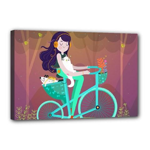 Bikeride Canvas 18  X 12  by Mjdaluz