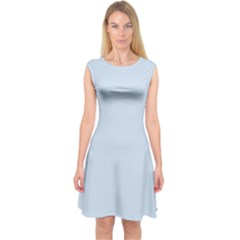 Pastel Color - Light Azureish Gray Capsleeve Midi Dress