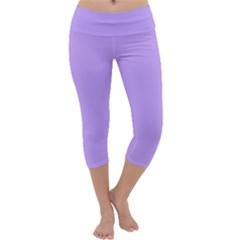 Pastel Color   Pale Blue Violet Capri Yoga Leggings by tarastyle