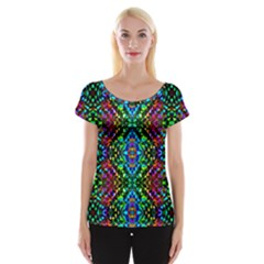 Glittering Kaleidoscope Mosaic Pattern Women s Cap Sleeve Top by Costasonlineshop