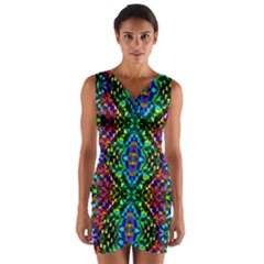 Glittering Kaleidoscope Mosaic Pattern Wrap Front Bodycon Dress by Costasonlineshop