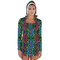Glittering Kaleidoscope Mosaic Pattern Women s Long Sleeve Hooded T Shirt by Costasonlineshop