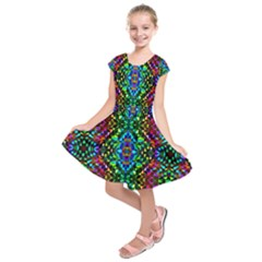 Glittering Kaleidoscope Mosaic Pattern Kids  Short Sleeve Dress by Costasonlineshop